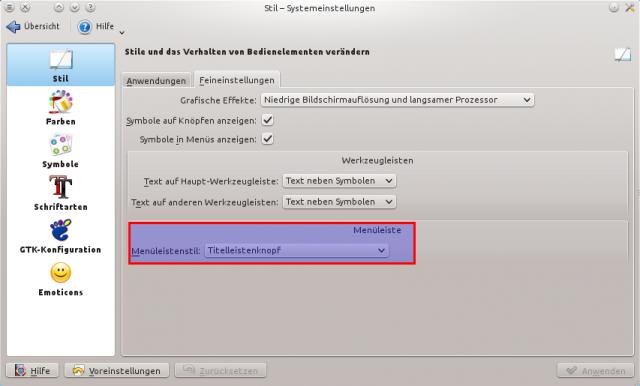Titelleistenmenü in KDE 4.10 - Systemeinstellungen