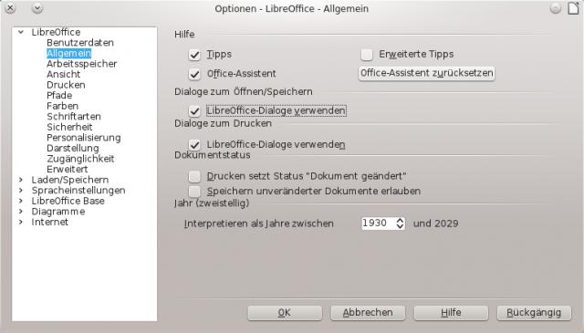 Optionen - LibreOffice - Allgemein_001
