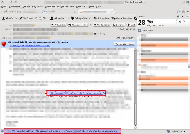 Phishingwarnung des Thunderbird bei einer Mail von web.de