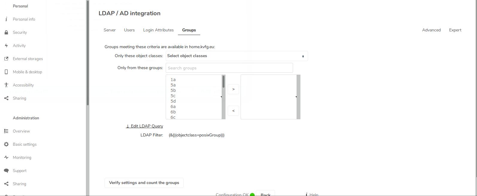 nextCloud 15 mit LDAPs an LD-Server und Automount von Tausch und