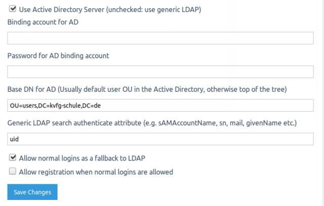 q2a LDAP Einstellungen Teil 2